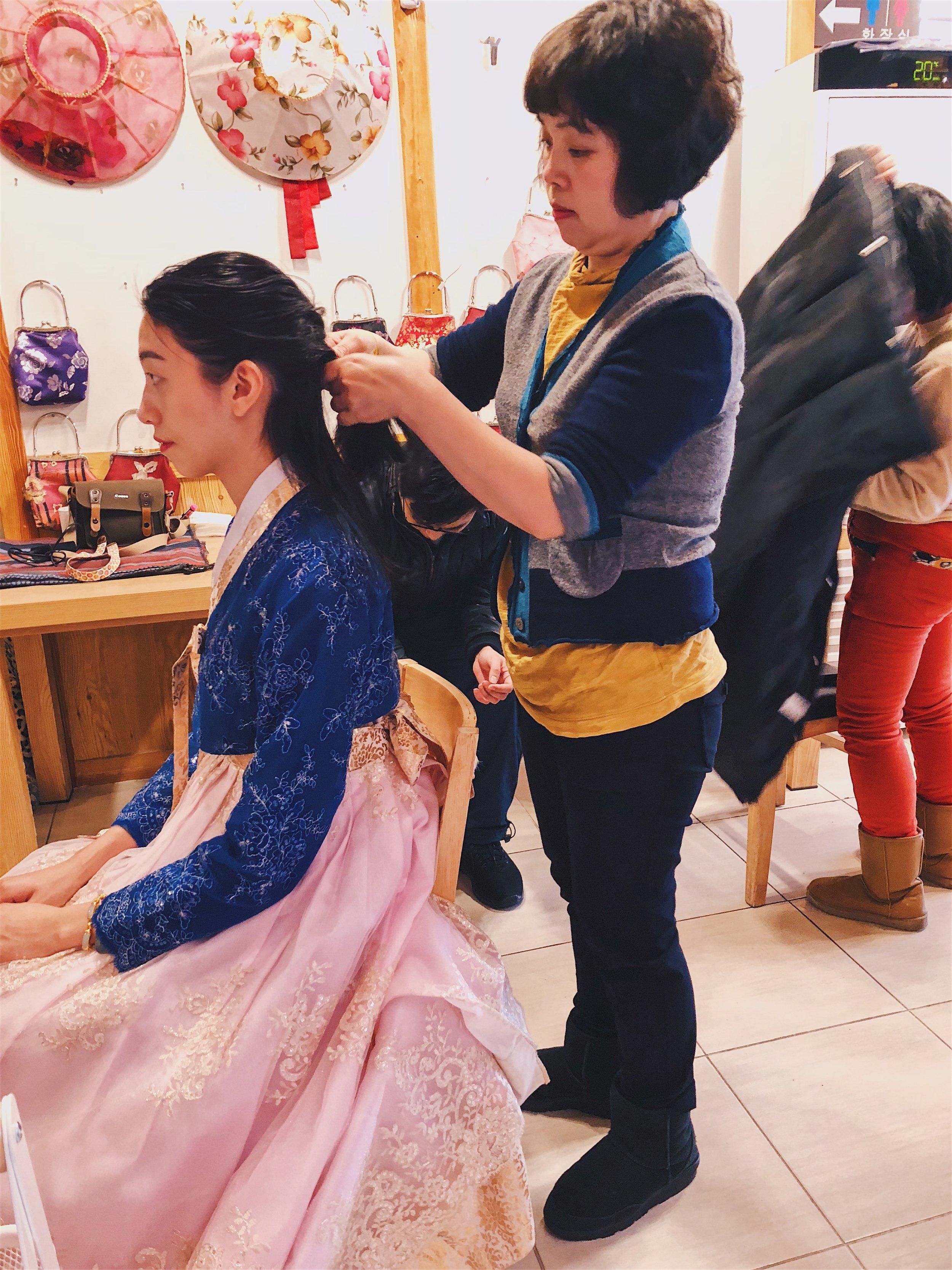 Getting my hair braided