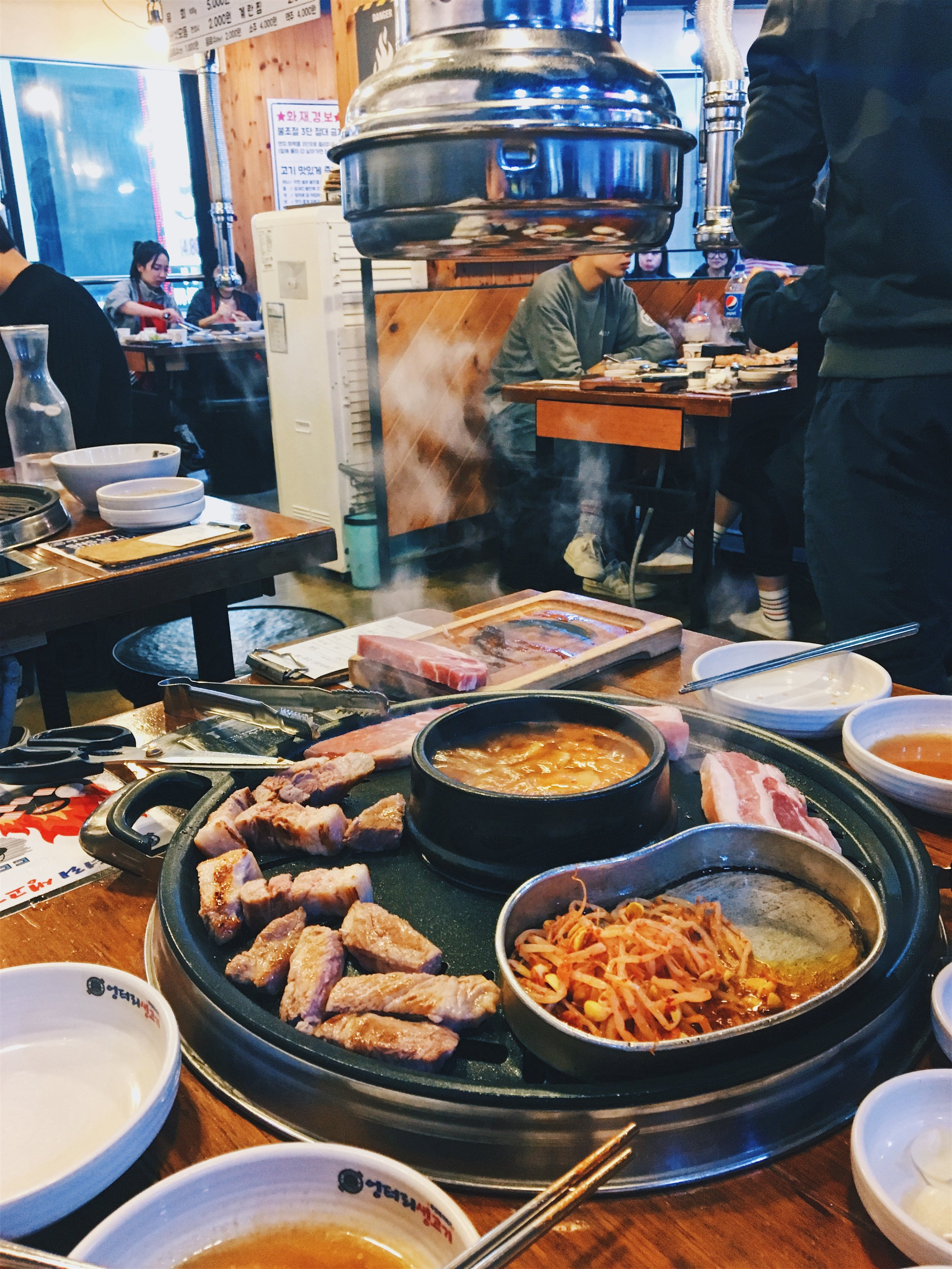 All-you-can-eat BBQ called Ungteori in Myeongdong for 14,800KRW - cheap! But you only get 2 cuts of meat: pork or beef.