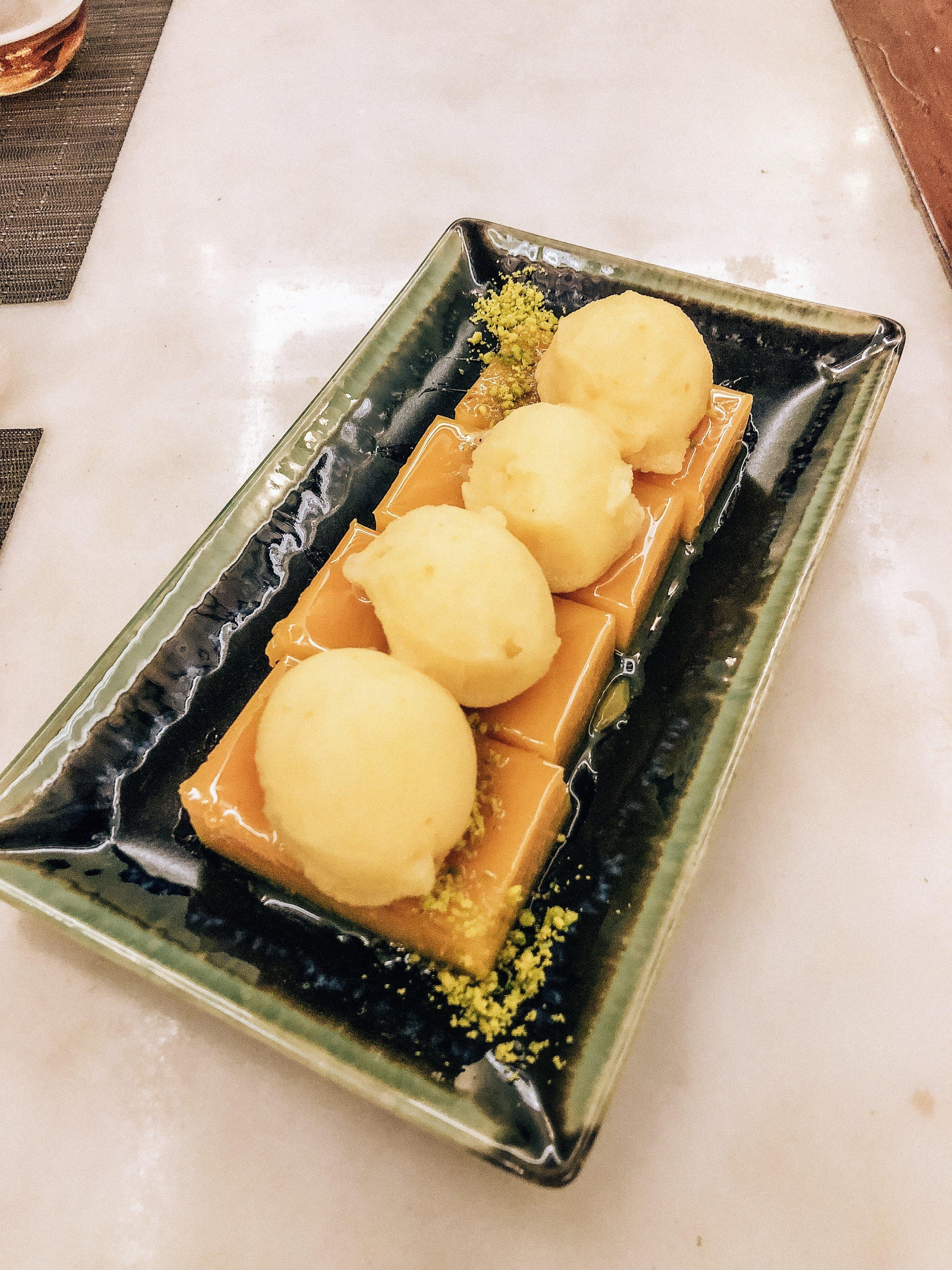 Dessert: flan and gelato