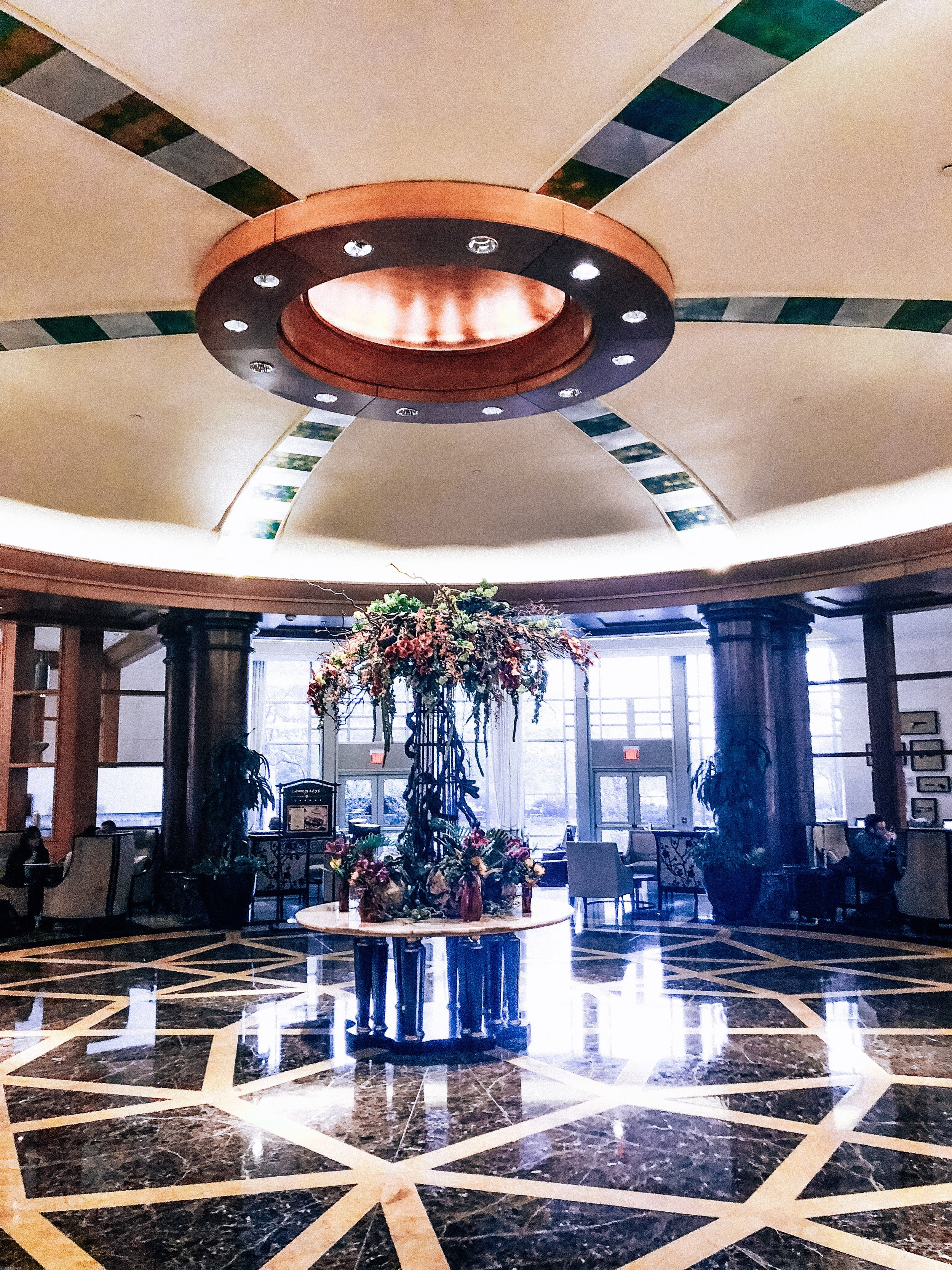 Beautiful lobby with a grand marble display