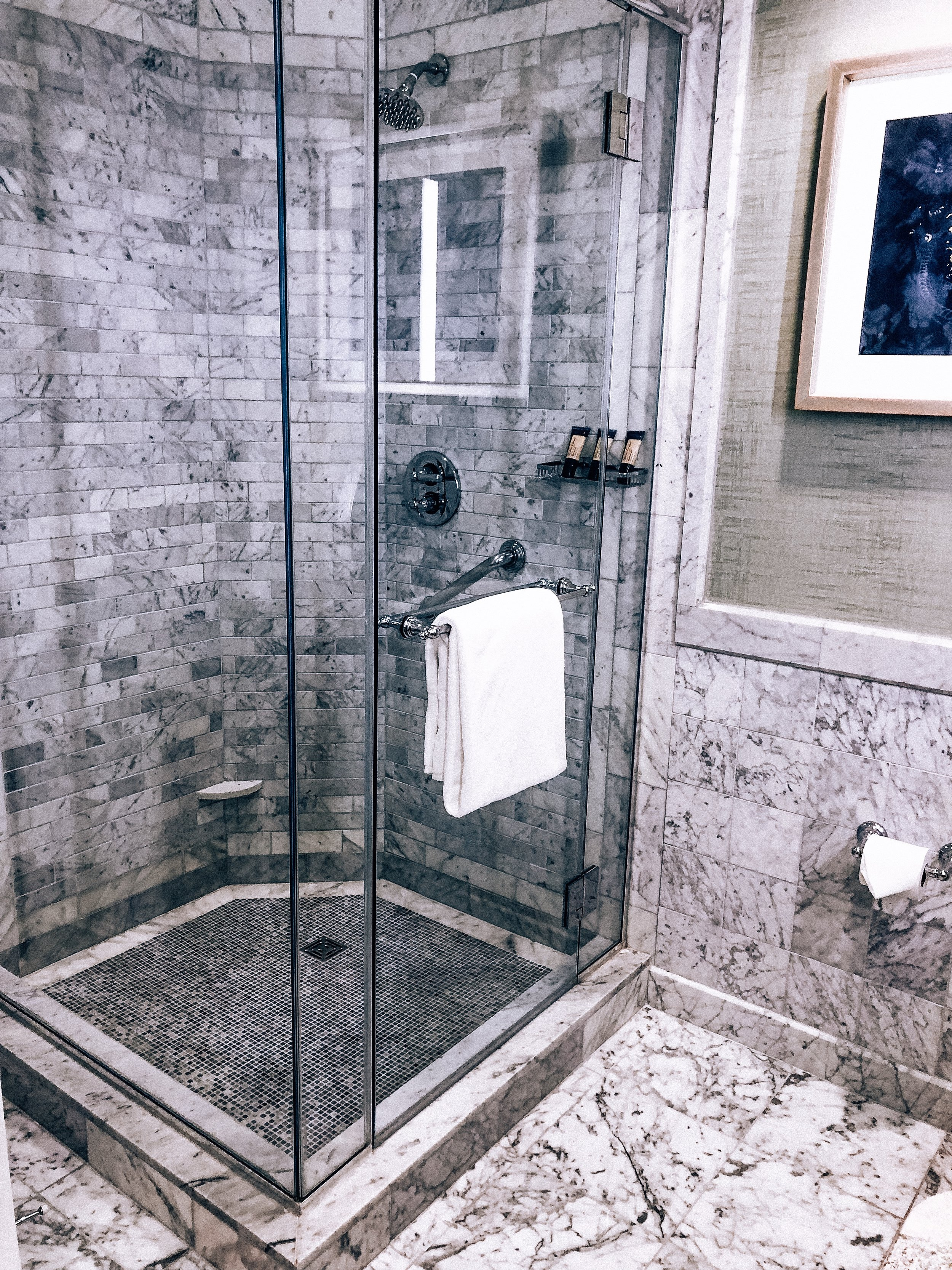 Marbled glass shower