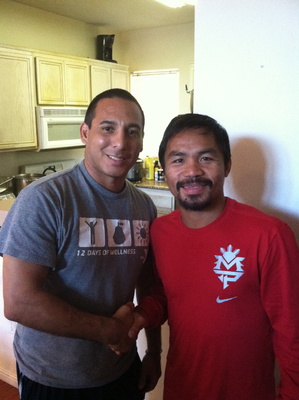 Fidel Rodriguez and Manny Pacquiao at his training home in LA