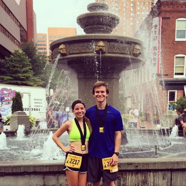 Katie and her boyfriend and training partner Jeff after last year's Charles Street 12.