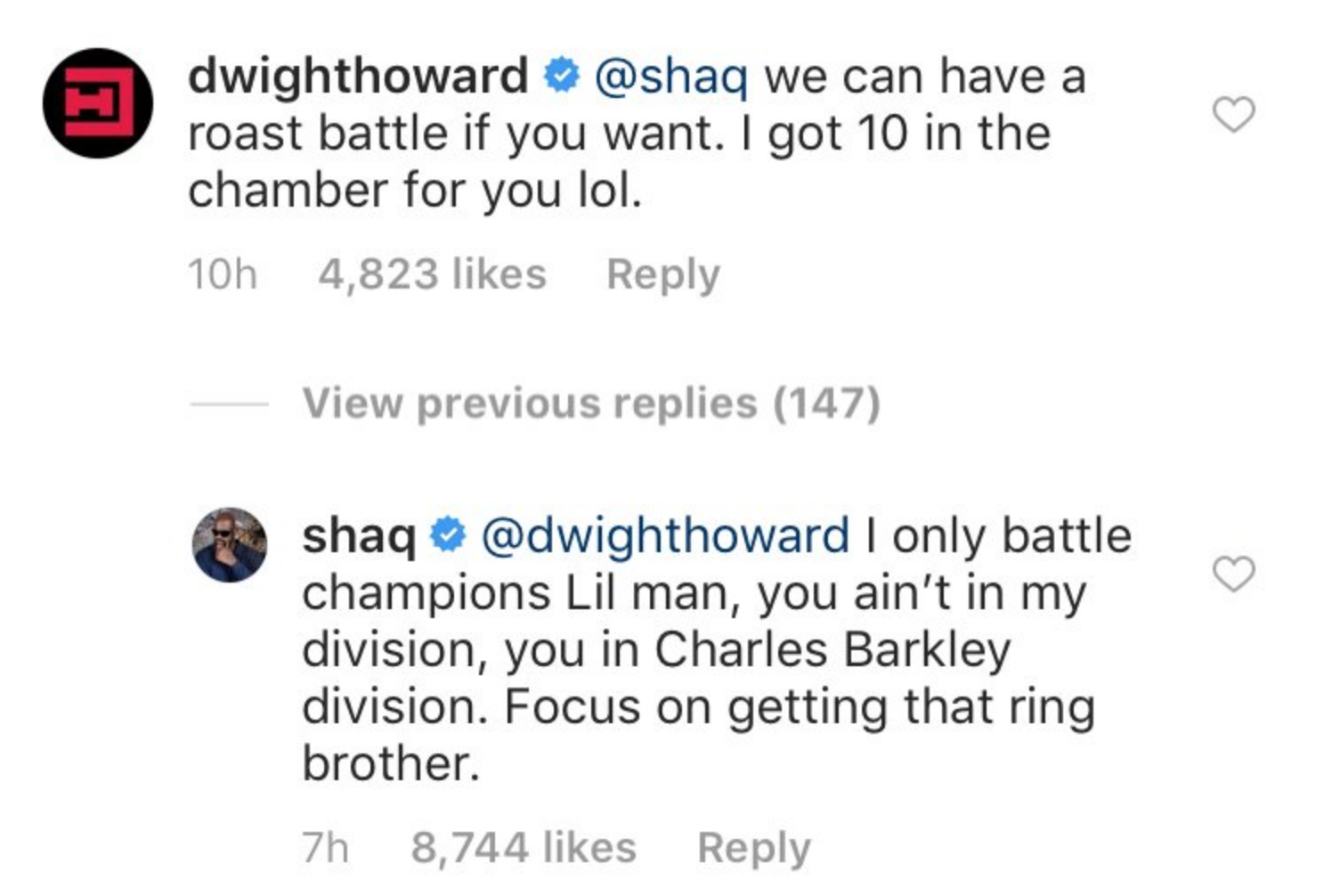 SHAQ WASN'T PLAYING IN THE IG COMMENTS  -