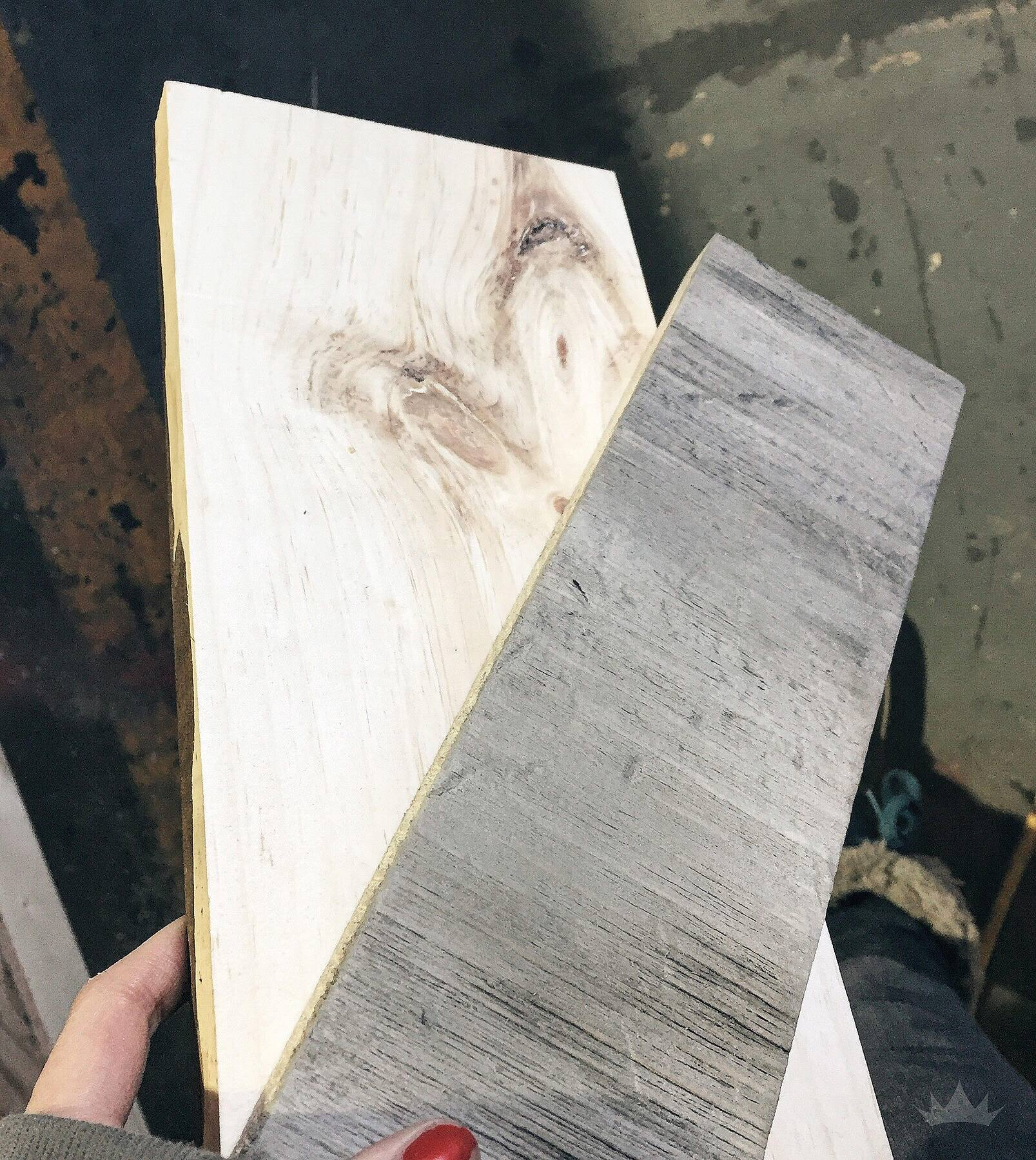 Rough Pine board vs a driftwood test piece.