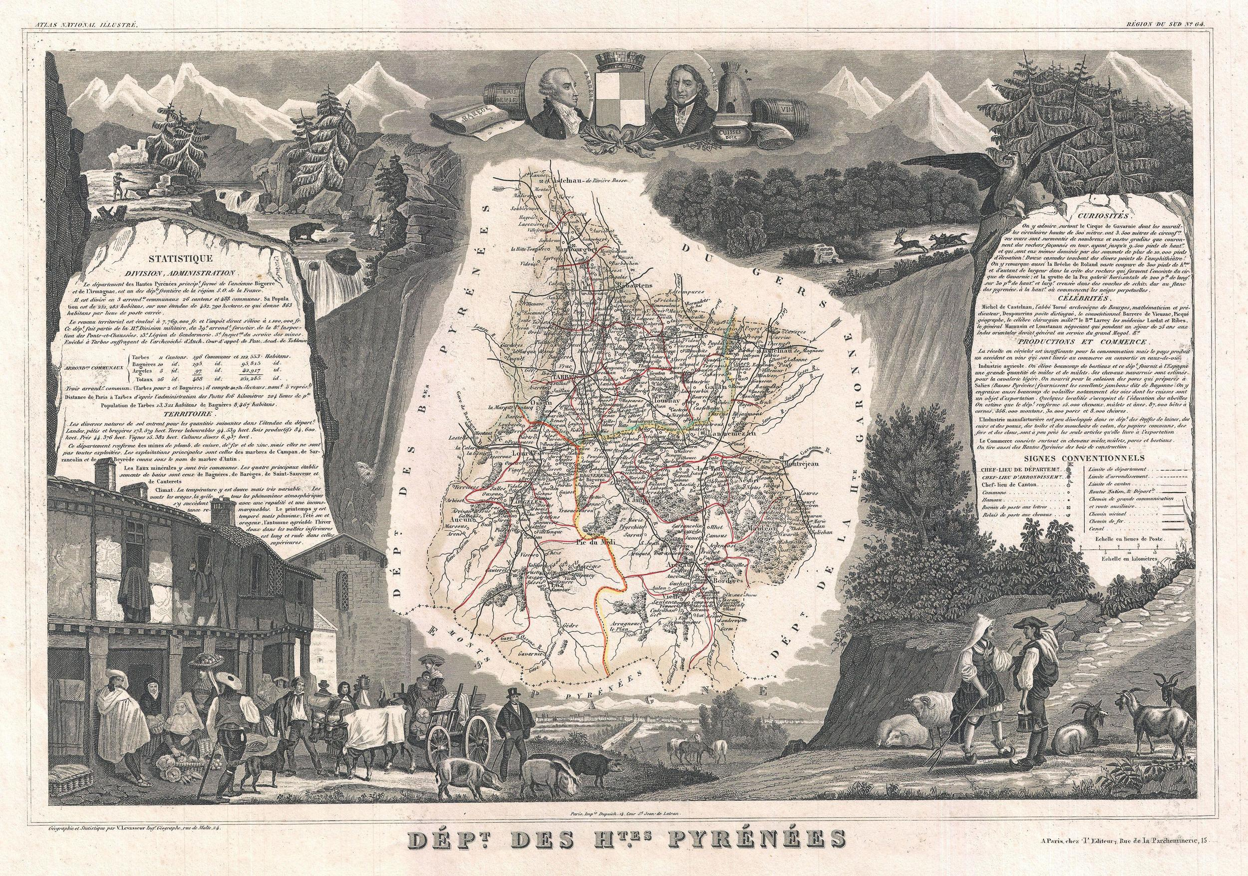 Map of the Hautes Pyrénées from 1852, near the area in France where Uruguayan Tannat likely originated. ( Source  marked for reuse.)