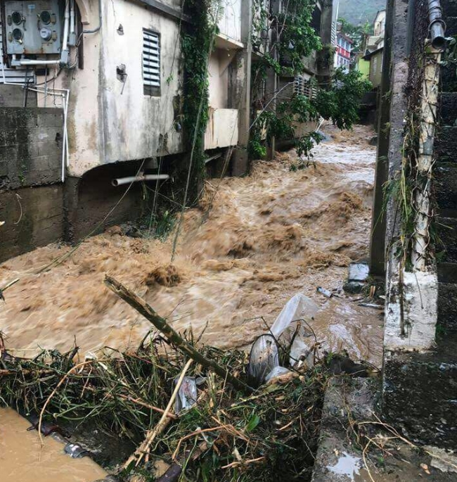 Water floods the street during Hurricane Maria. Photo by Pedro's niece Gabriela