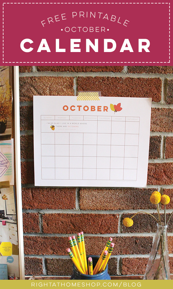 Free October Printable Calendar - Right at Home Shop