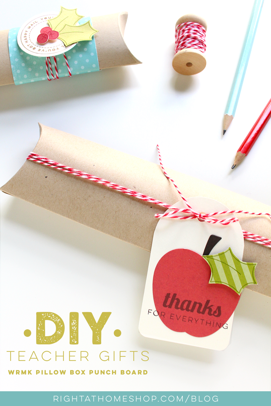 DIY Teacher Gifts Using the WRMK Pillow Box Punch Board - Right at Home Shop