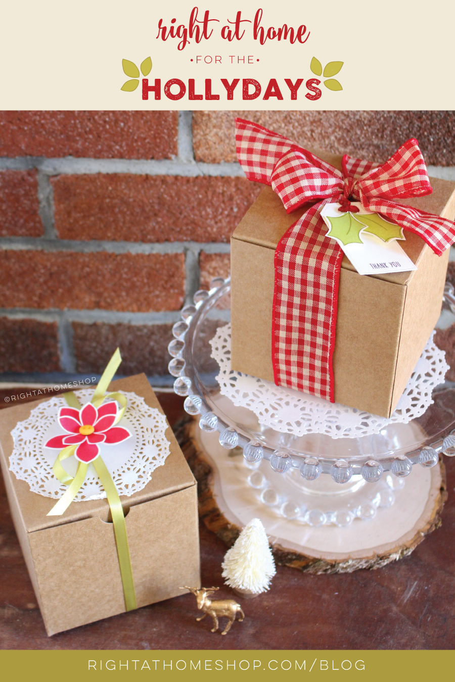 DIY Kraft Box Gift Wrap // Right at Home for the Hollydays Series - Day #1