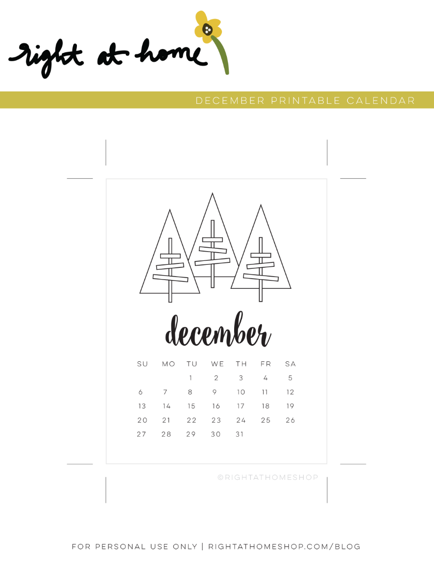 December Adult Coloring Printable Calendar - Right at Home Shop