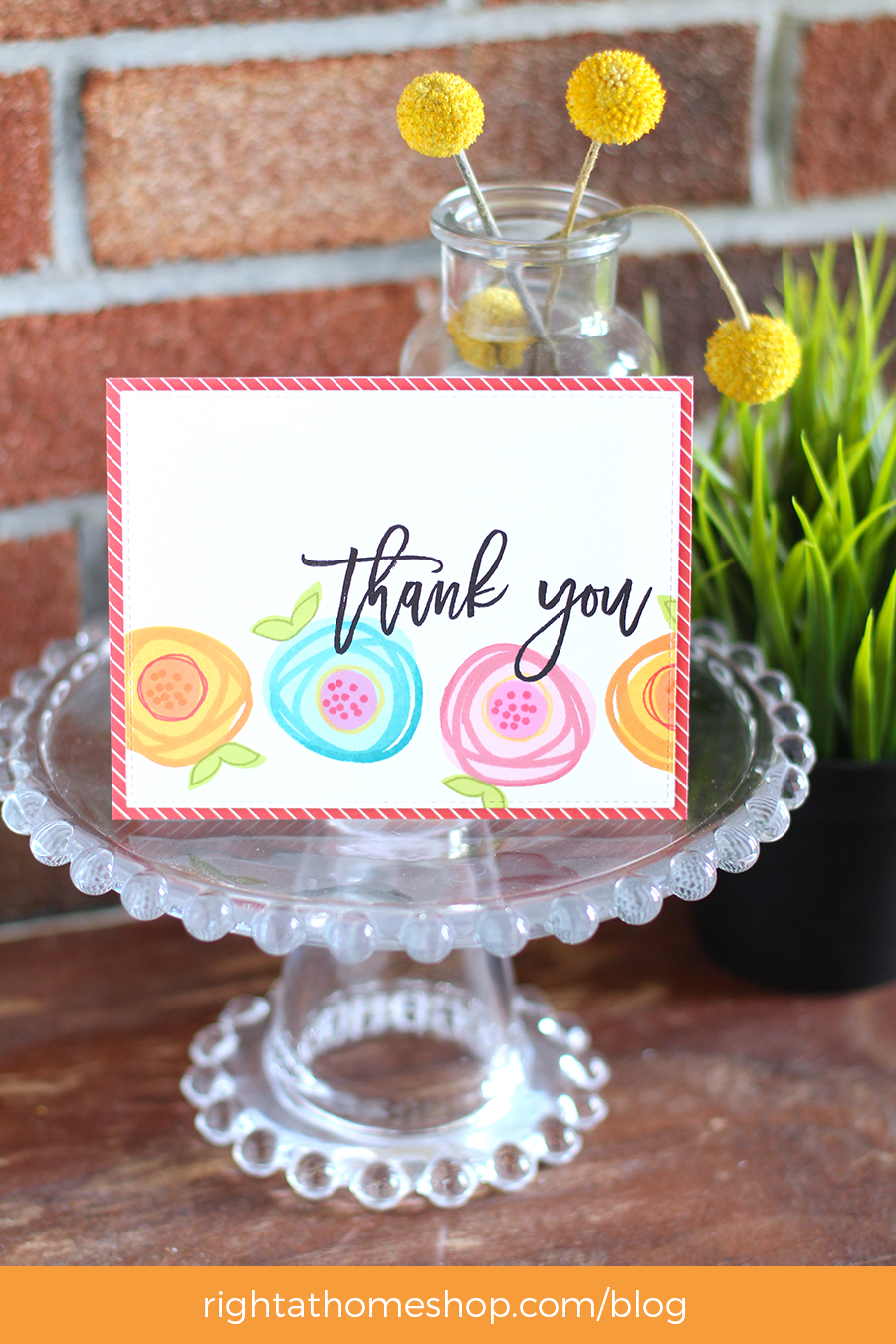 Thank You Card Using March Release // Right at Home Stamps - rightathomeshop.com/blog