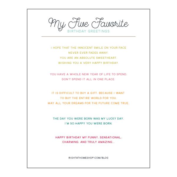 My 5 Favorite Greetings for Inside a Birthday Card Printable // rightathomeshop.com/blog