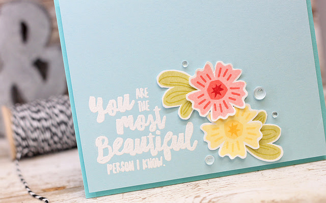 Beautiful CAS Card by Laurie W // Mixing up Card Base Color - rightathomeshop.com/blog