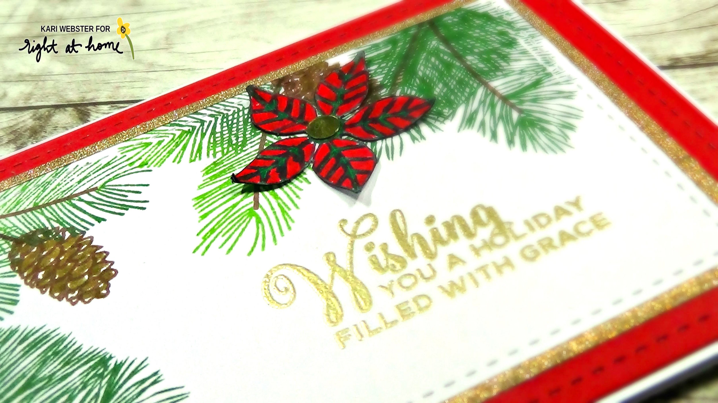 Poinsettia Card by Kari // RAH Stamps Christmas Foliage Feature Week - rightathomeshop.com/blog