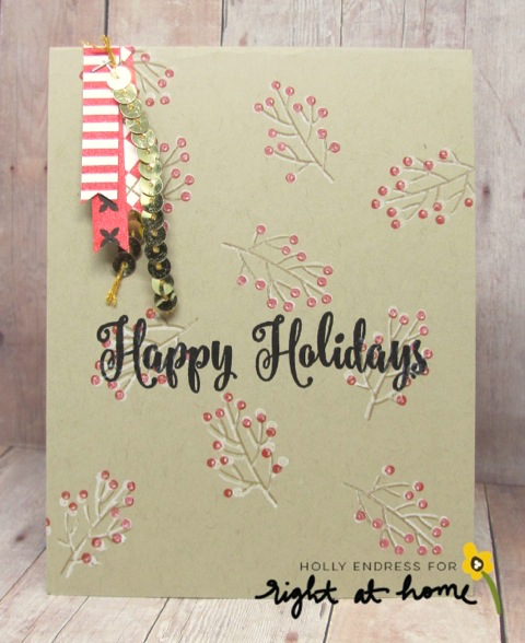 Happy Holidays Card by Holly // RAH Stamps Bits & Pieces: Winter + Holiday Ribbons Feature Week - rightathomeshop.com/blog