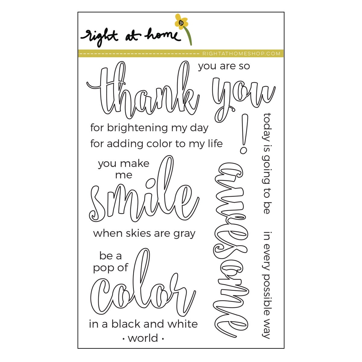Right at Home Stamps // Color In Sentiments