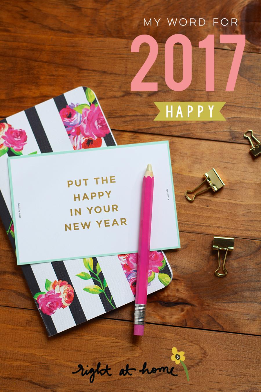 My Word for 2017 // Happy - rightathomeshop.com/blog
