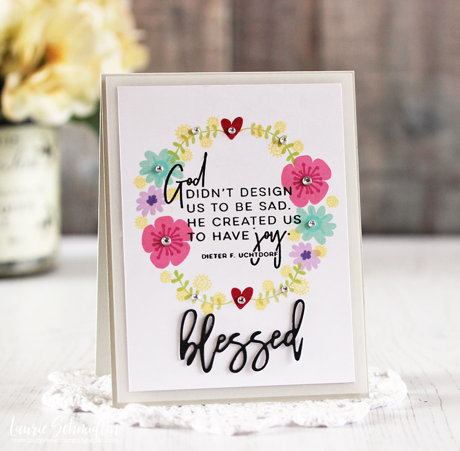 Blessed Stamped Wreath Card by Laurie S. // RAH Stamps March Release - rightathomeshop.com/blog