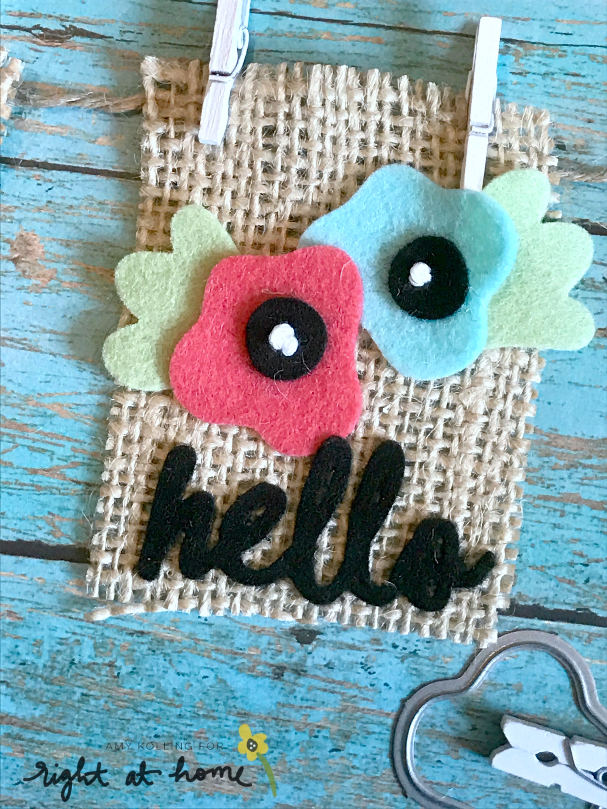 DIY Hello Burlap Banner by Amy K. // Homemade with Love Day #3 - rightathomeshop.com/blog