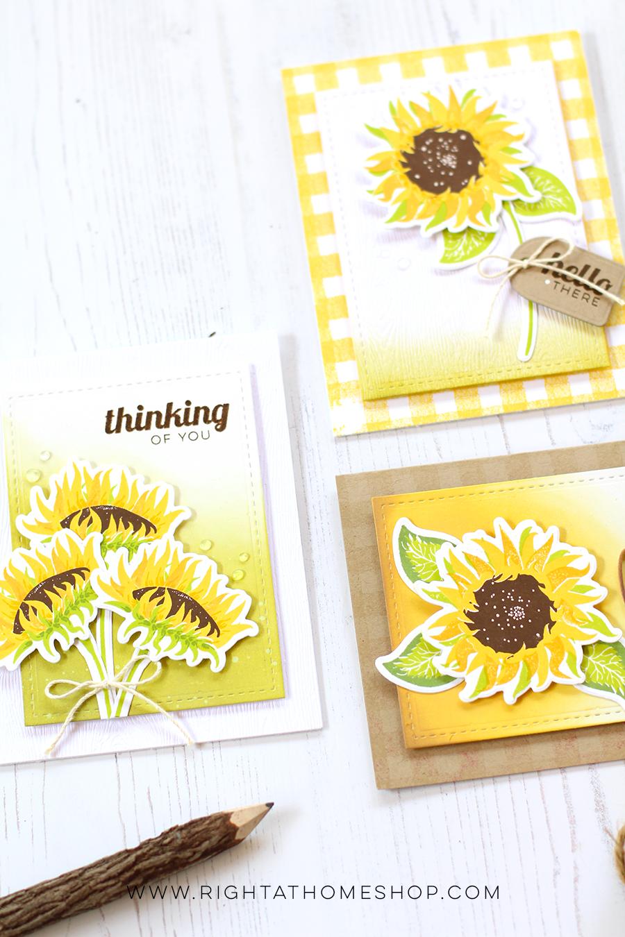 3 Sunflower Cards by Nicole // rightathomeshop.com/blog