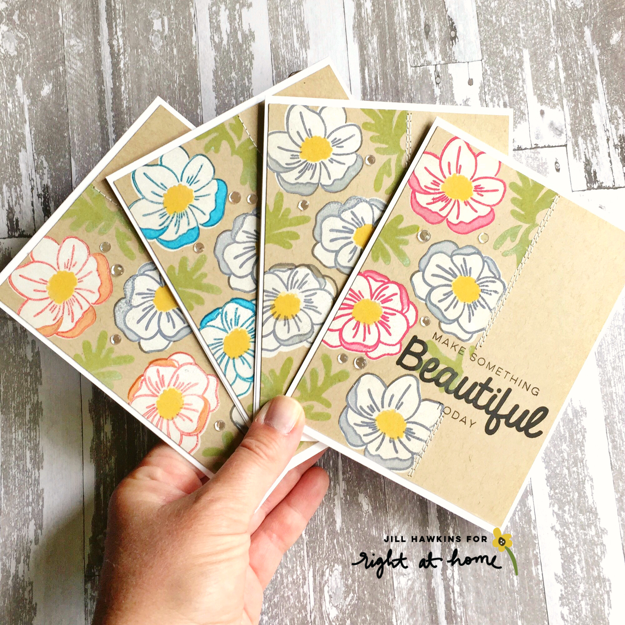 Anemone 3 Ways by Jill H. // Ombré, Colored Pencils, + Off-Set Stamping // rightathomeshop.com/blog