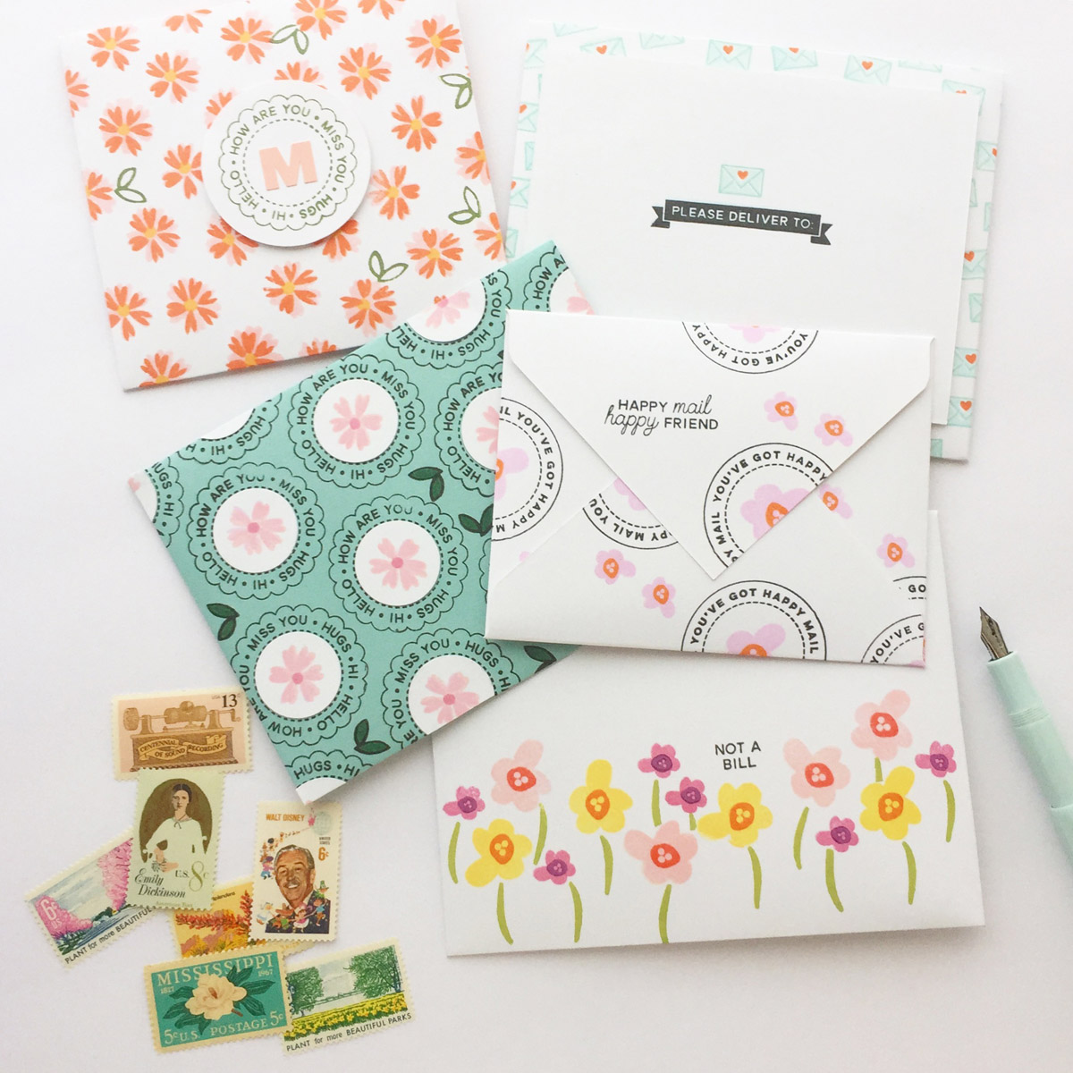 Hand-Stamped Happy Mail Envelopes by Brandi Kincaid // rightathomeshop.com/blog