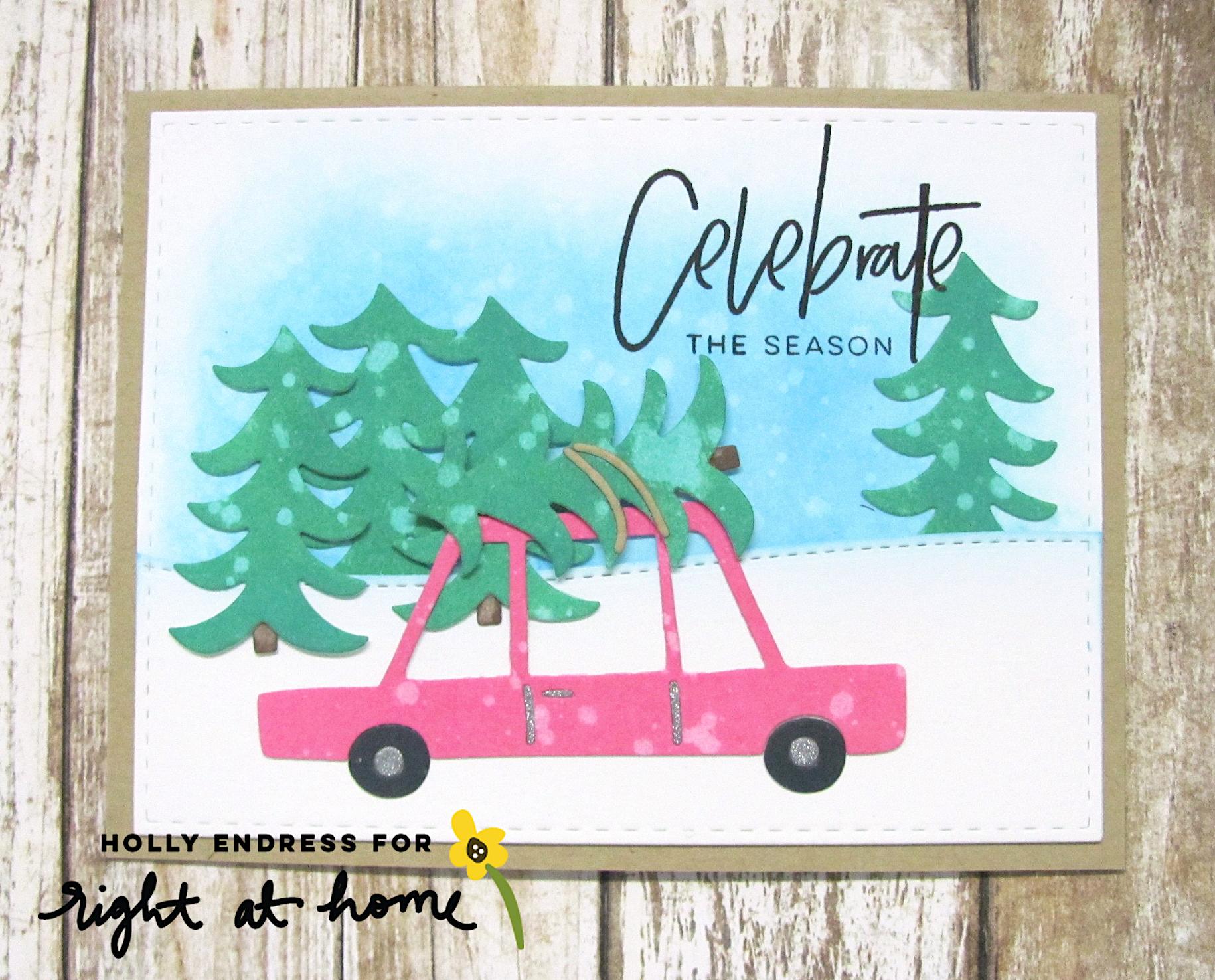 Celebrate the Season Holiday Car Card Using Distress Oxide Inks by Holly // rightathomeshop.com/blog