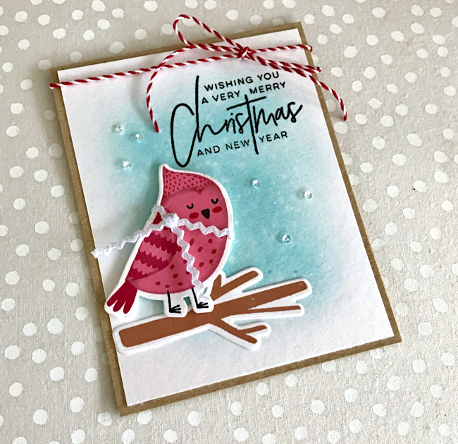 Merry Christmas Cozy Cardinal Card by Katie G. // rightathomeshop.com/blog