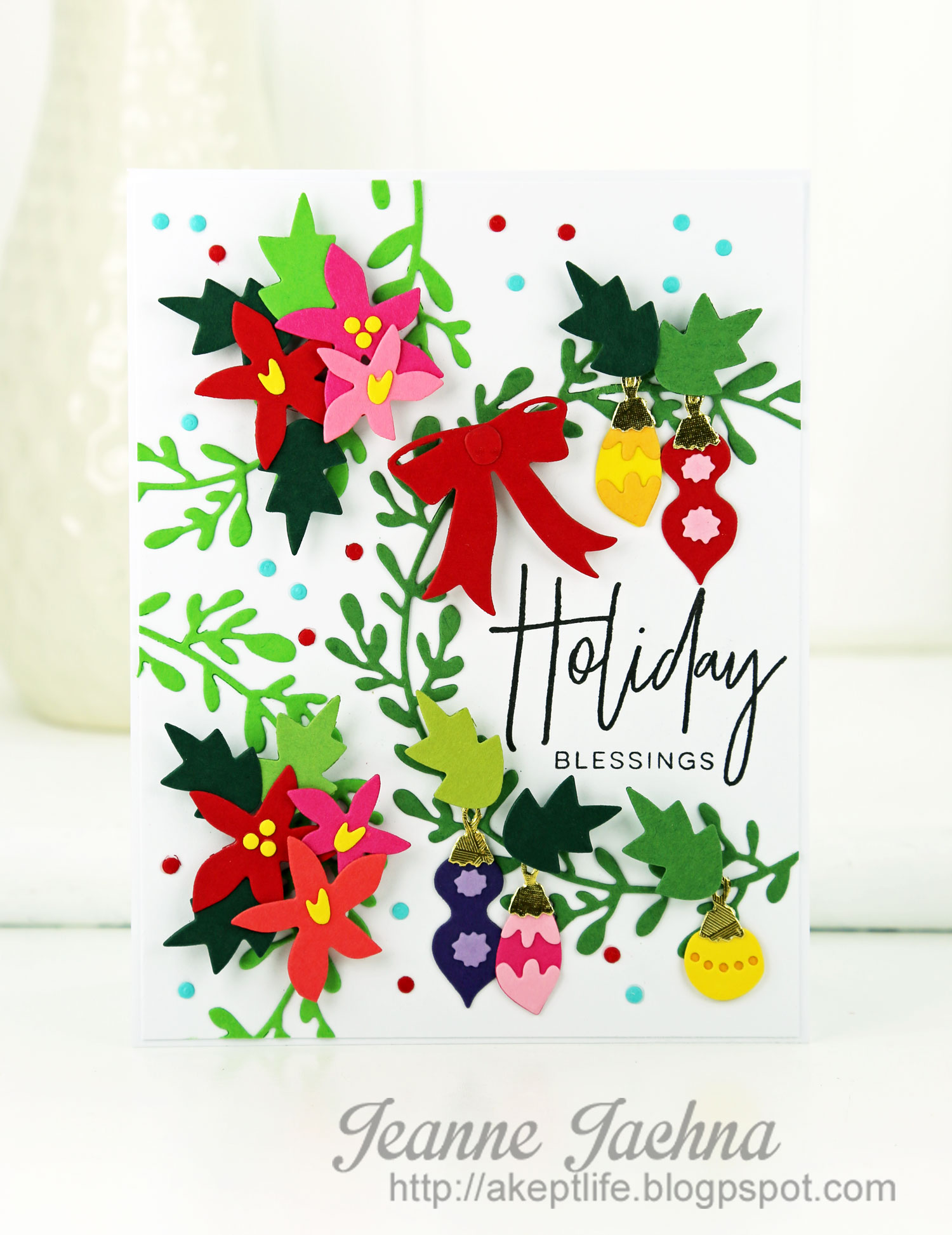 Holiday Blessings Decorated Seasonal Wreath Card by Jeanne J. // rightathomeshop.com/blog