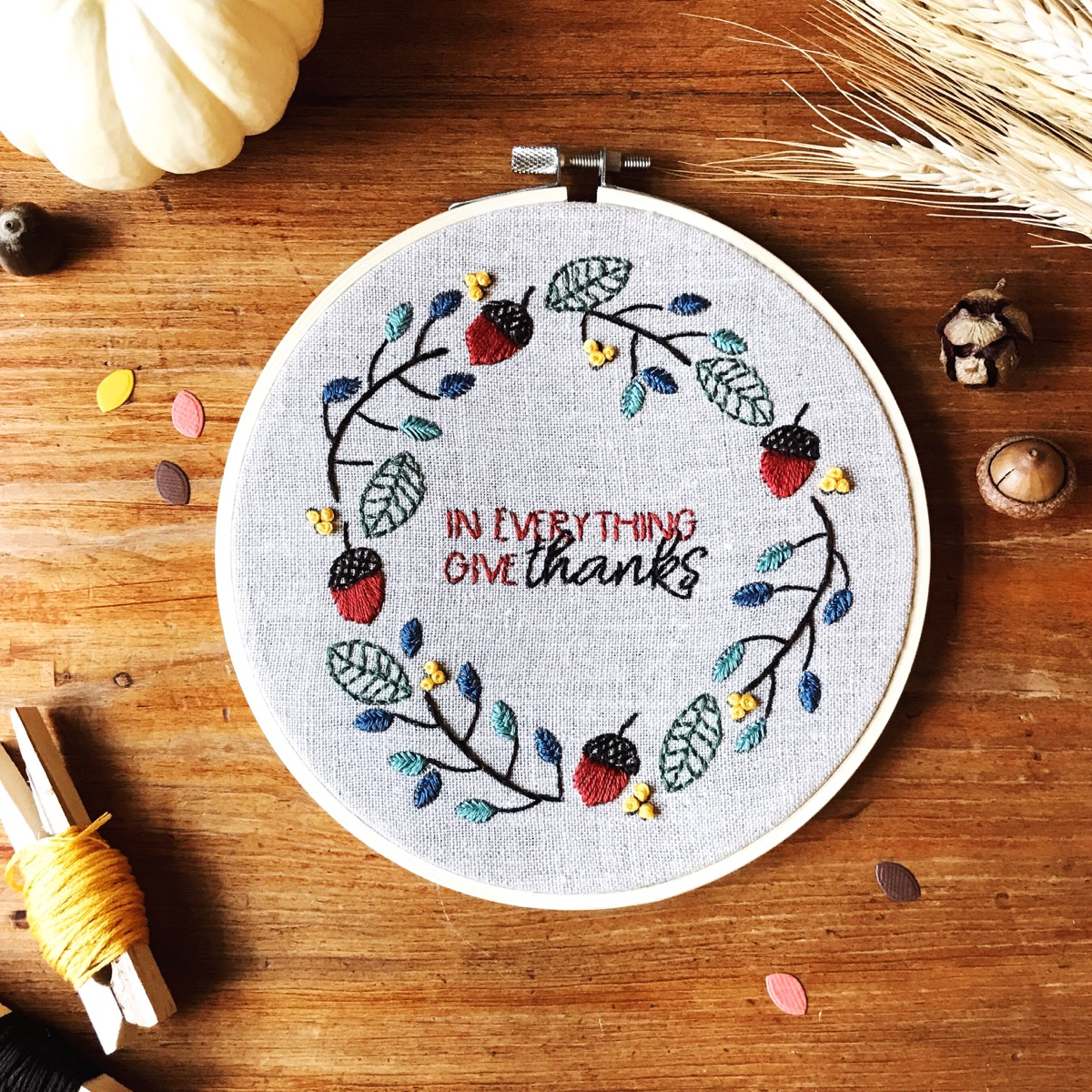 DIY Fall Leaves Embroidery Hoop Using Stamped Images // rightathomeshop.com/blog