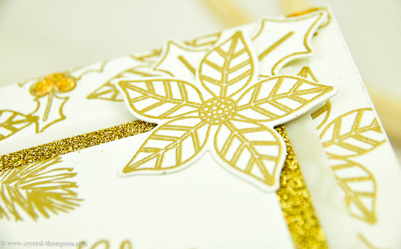 Elegant Christmas Foliage Card with Gold Embossing by Crystal T. // rightathomeshop.com/blog