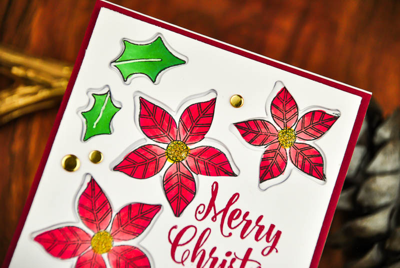 Two Clean & Simple Christmas Foliage Poinsettia Cards by Crystal T. // rightathomeshop.com/blog