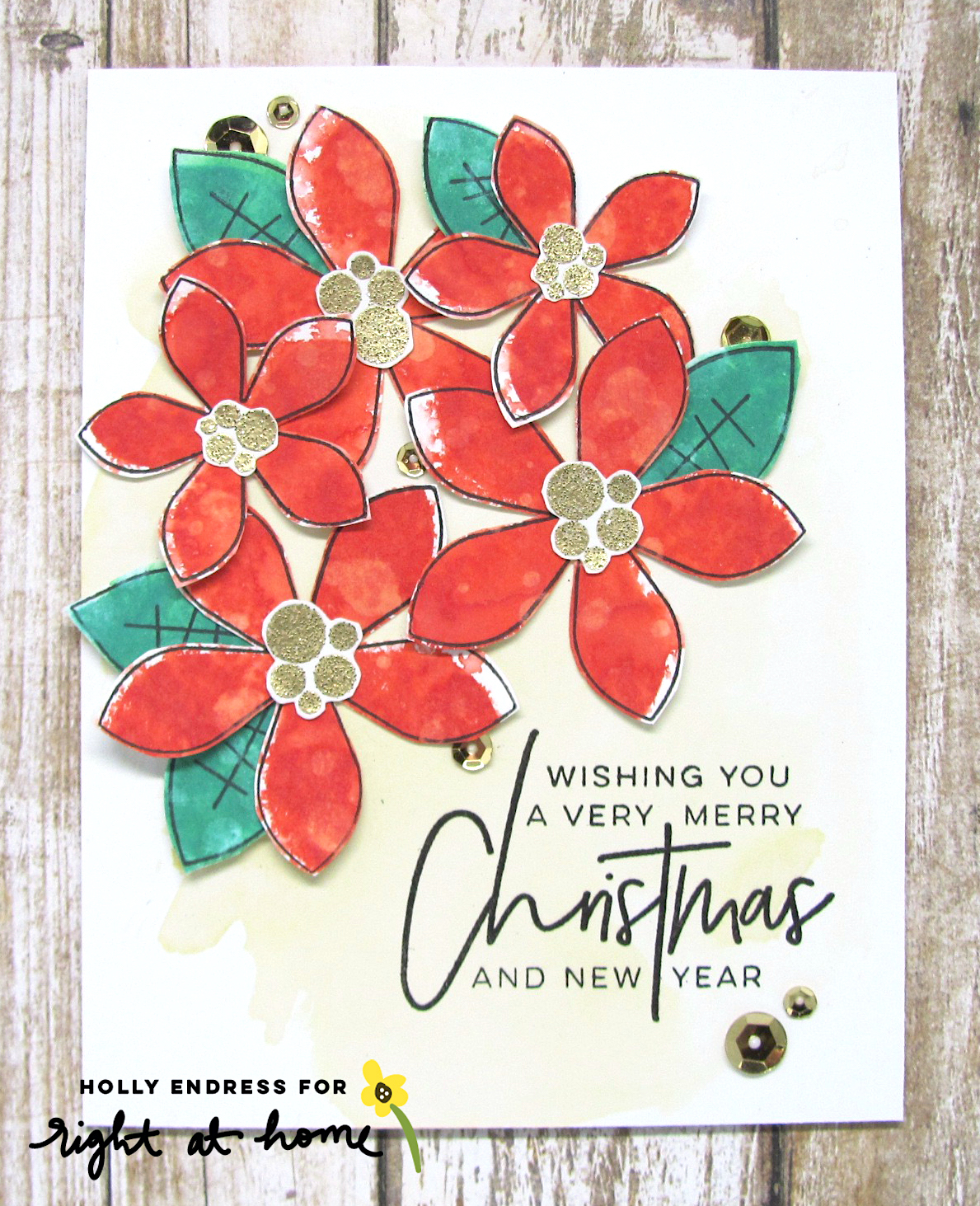 Merry Christmas Poinsettia Card Using Distress Oxide Inks by Holly // rightathomeshop.com/blog
