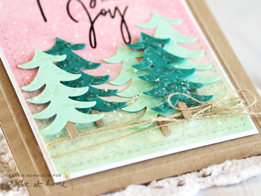 Peace Love Joy Glittery Winter Trees Card by Laurie S. // rightathomeshop.com/blog