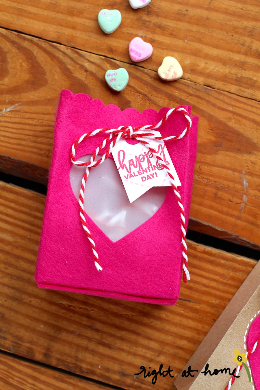 Folded Gift Bag Die Set Felt + Paper Valentines Treat Bags // rightathomeshop.com/blog