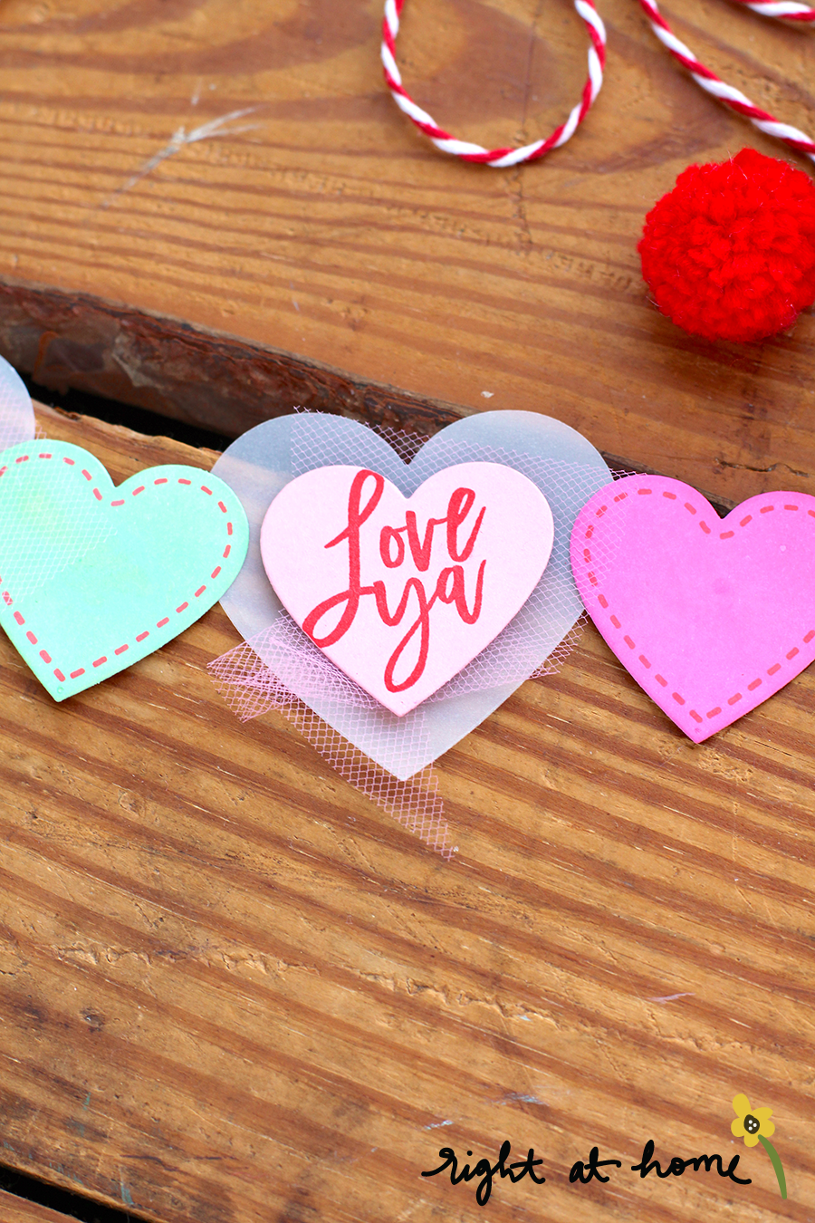 Love Ya Vellum + Paper Heart Banner // rightathomeshop.com/blog