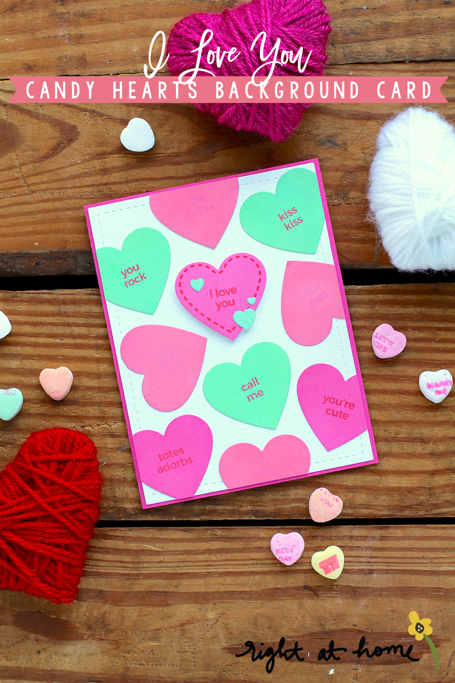 Day #6: I Love You Candy Hearts Background Folded Airplane Die Set Card // rightathomeshop.com/blog