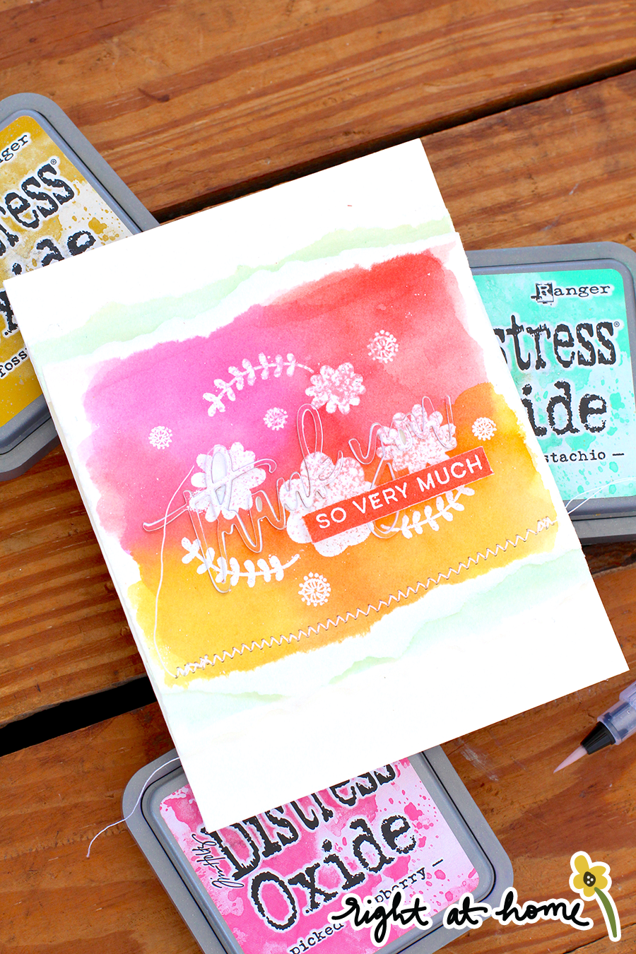 Thank You Embossed Resist Watercolor Card // National Craft Month with Right at Home + Friends - rightathomeshop.com/blog