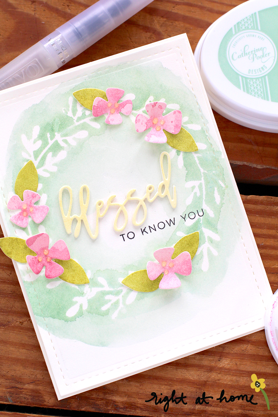 Blessed Wreath Stencil Watercolor Card // National Craft Month with Right at Home + Ellen Hutson LLC - rightathomeshop.com/blog
