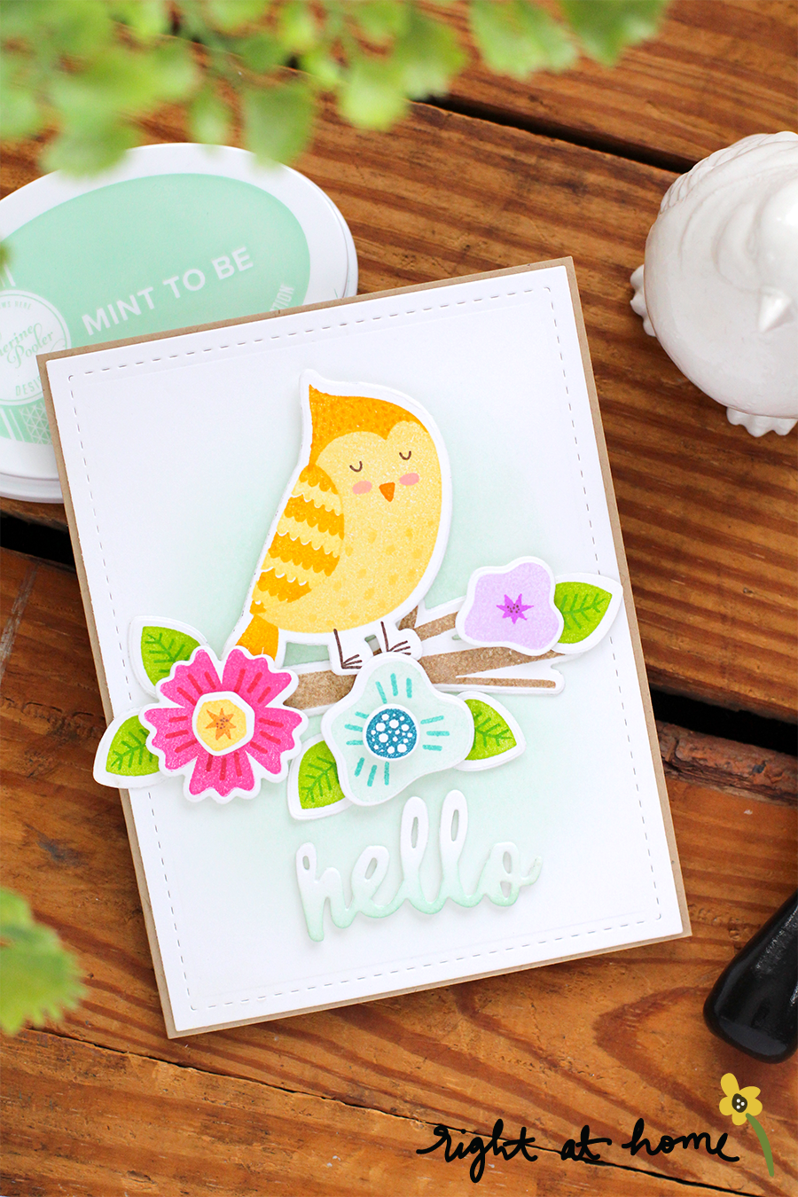 Spring Hello Cozy Cardinal Card // National Craft Month with Right at Home + Friends - rightathomeshop.com/blog