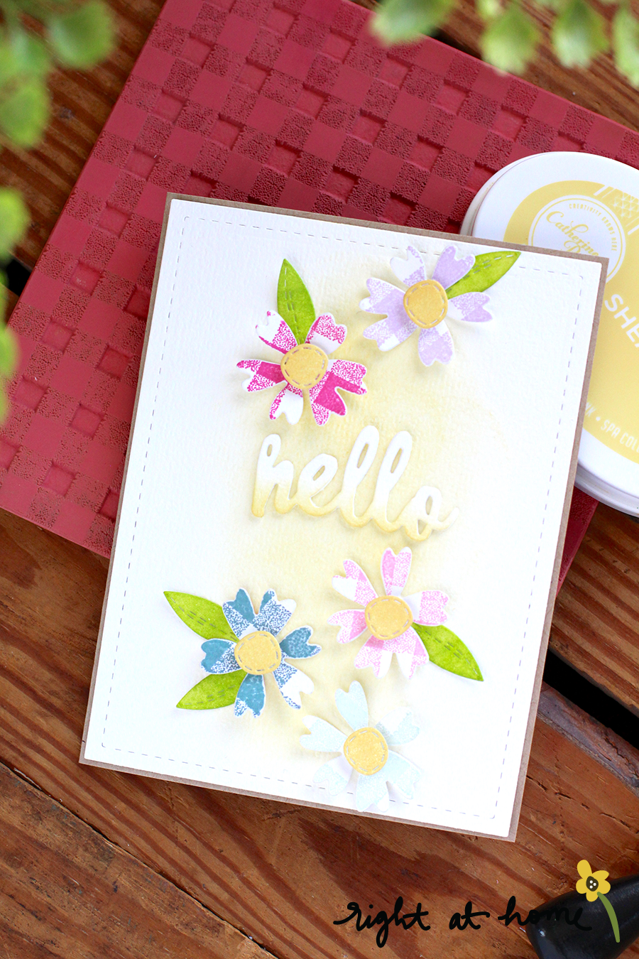 Gingham Background Stamped Flowers Hello Card // National Craft Month with Right at Home + Dear Paperlicious - rightathomeshop.com/blog