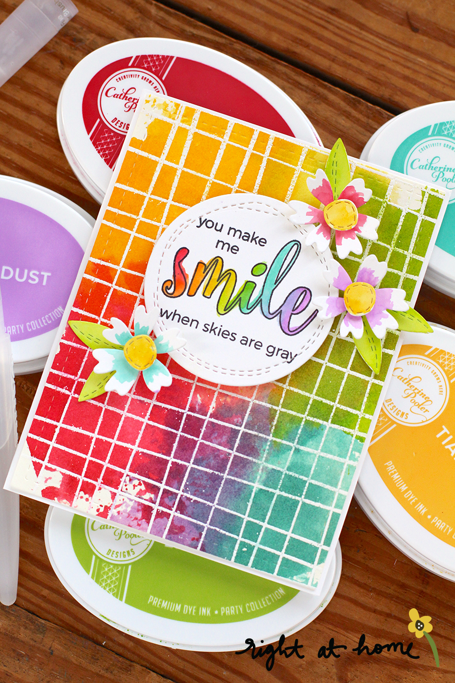 You Make Me Smile Rainbow Watercolor Card // 2018 Stamping for Autism Awareness Blog Hop - rightathomeshop.com/blog