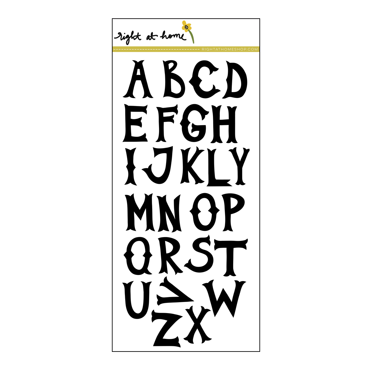 Right at Home Stamps // Folk Alphabet Solid (available at rightathomeshop.com)