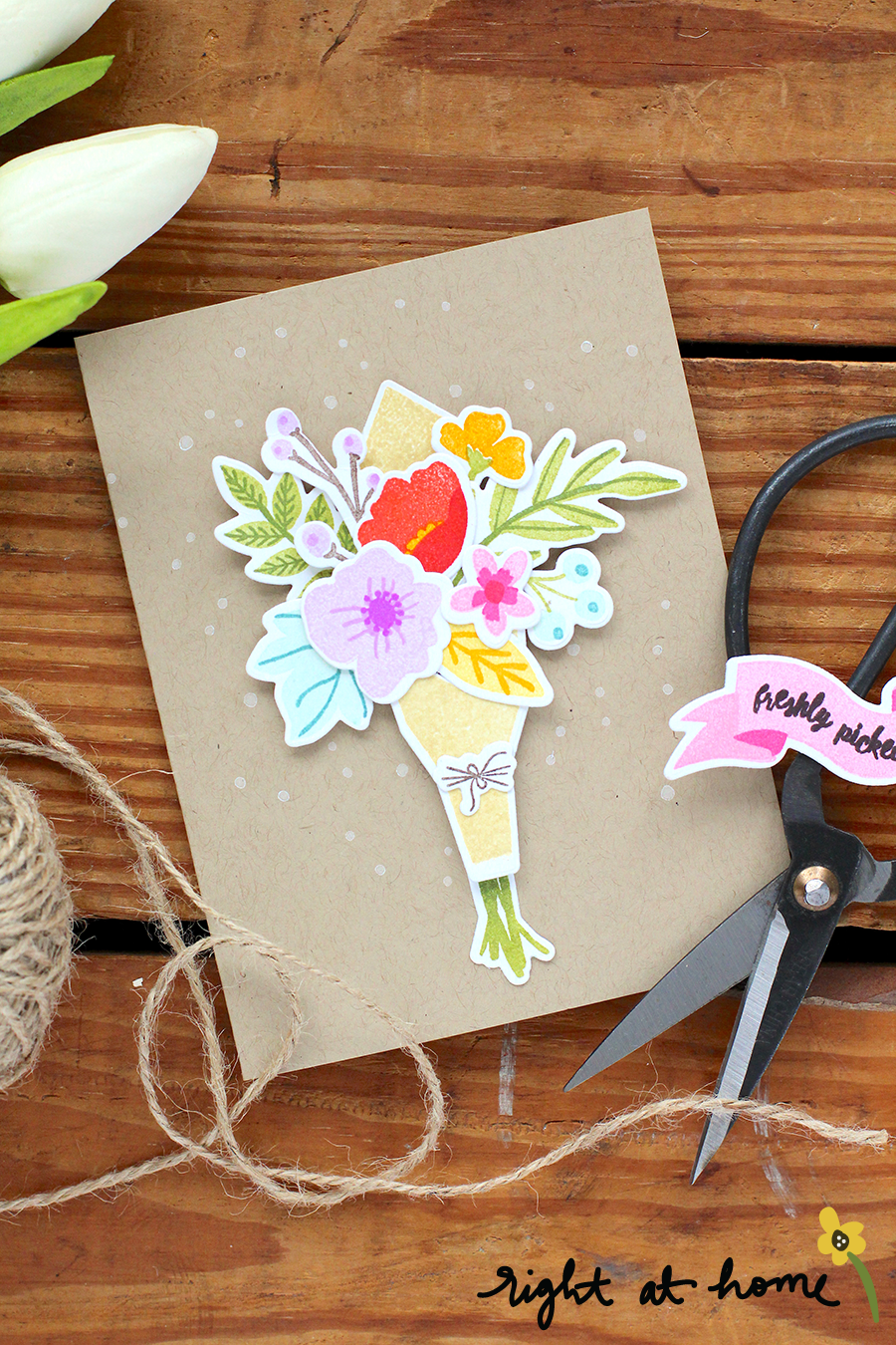 Freshly Picked Stamped Bouquet Card // rightathomeshop.com/blog
