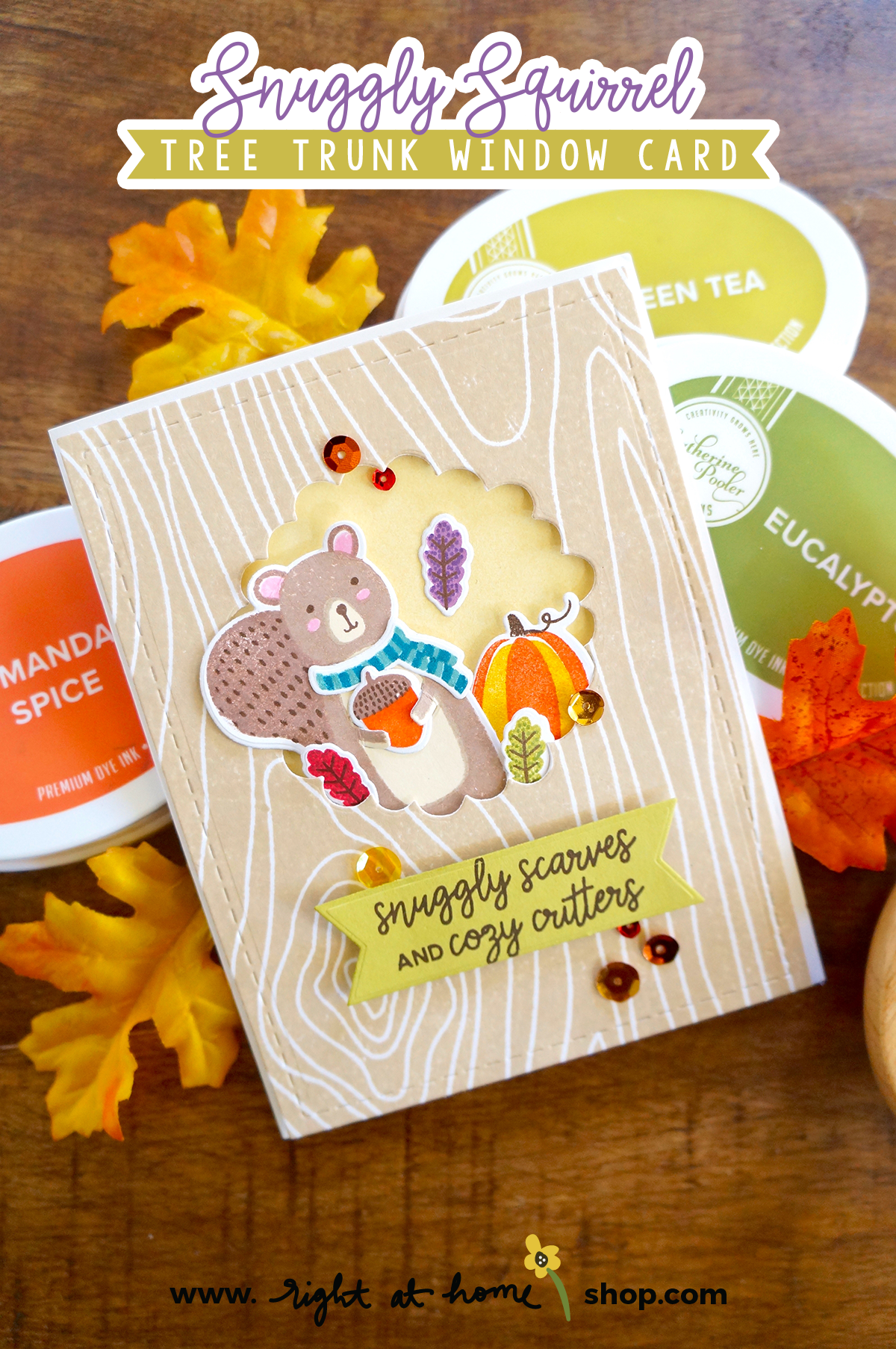 Snuggly Squirrel Tree Trunk Window Card // rightathomeshop.com/blog