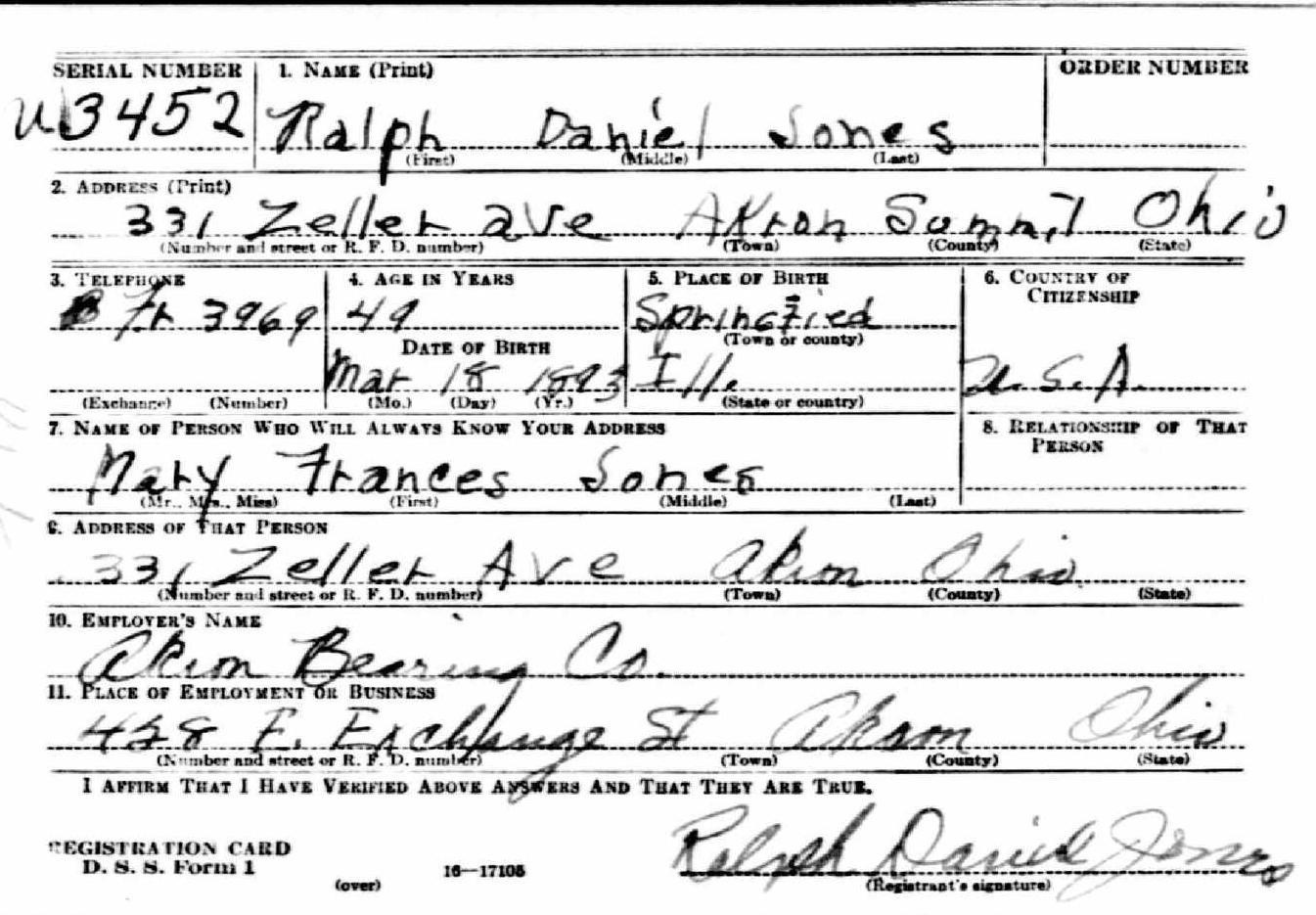 Ralph Jones's WWII Draft Card