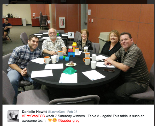 Here is a tweet that typically gets retweeted and reposted on our church's facebook site. This table just won the Eastside orange coffee mugs from the week 7 competition.