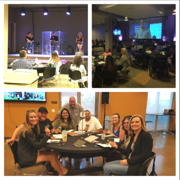 Next Steps at Eastside. TOP LEFT: Week 4 Unleash Compassion Game. TOP RIGHT: Gene Appel telling his story in Week 1. BOTTOM: A winner table holding gift cards after a competition.