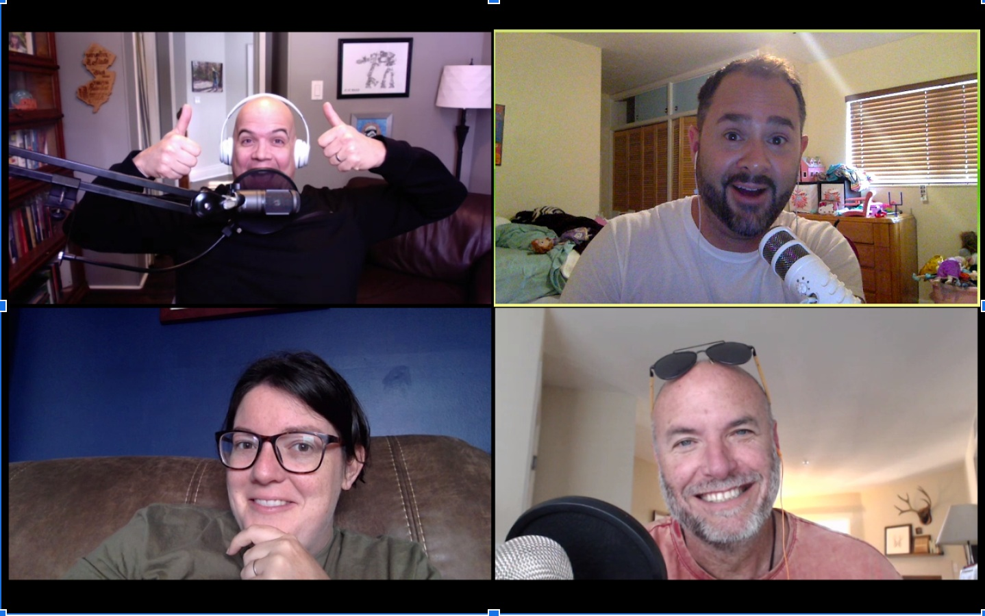 This is the four of us recording the podcast from Ontario Canada, Sunny Florida, and me in Southern California. All About Multisite has spiked on iTunes as high as the #2 downloaded podcast in the Religion/Spirituality category.